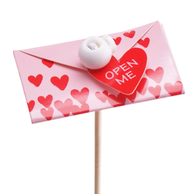 Love Card 3in on 20in stick red/pink