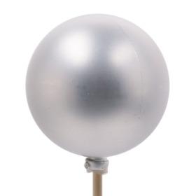 Kerstbal Mat 6cm op 50cm stok zilver