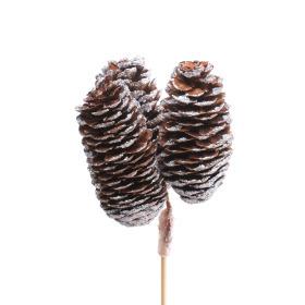 Spruce Cones x3 6-8cm on 50cm stick silver