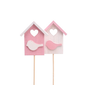 Bird house Happy Home 7.5cm on 50cm stick pink/white ass.