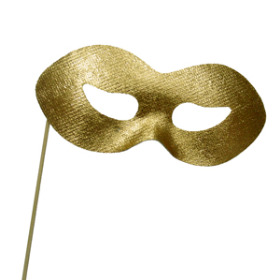 Mask 5.5x2.3in on 20in stick gold