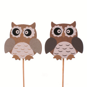 Owls 6cm on 8cm stick assorted