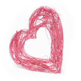 Bouquet holder Rattan Heart 25cm pink