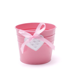Pot Zinc Heart 4in pink/white