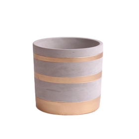 Cement Pot Xmas Gold Stripes ES12