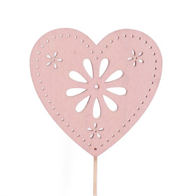 Heart Flower Art 8cm on 50cm stick pink
