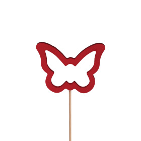 Butterfly Melissa 7.5cm on 50cm stick red