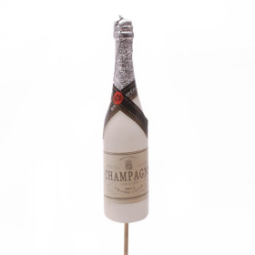 Champagne Bottle 11cm on 10cm stick white