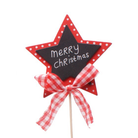 Star Merry Christmas 6cm on 15cm stick red