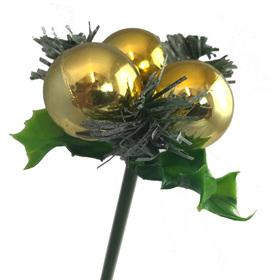 Triple Ball Deco on 50cm stick Gold