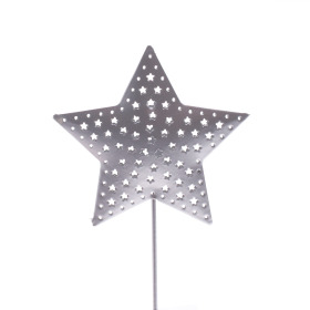Star Rustic Ø 6.5cm on 10cm stick silver