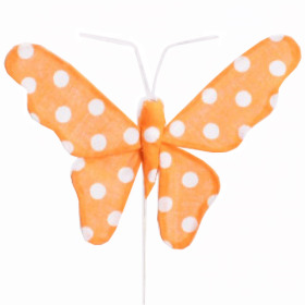 Butterfly Satin 8cm on 15cm stick orange