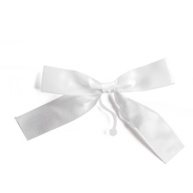 Plastic bow 10cm with clip white
