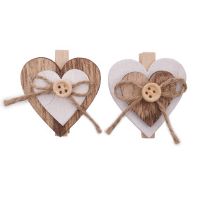 Double Heart Deco 4cm with clip natural/white 6-assorted