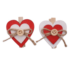 Clip Double Heart 4cm red/white assorted x6