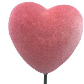 Heart Flocked 12cm on 50cm stick pink