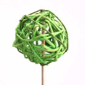 Rattan Ball 6cm on 50cm stick green