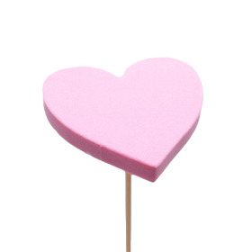 Heart Eva 7cm on 50cm stick pink