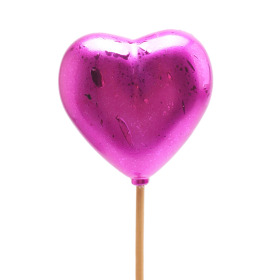 Heart Festive 6.5cm on 50cm stick cerise