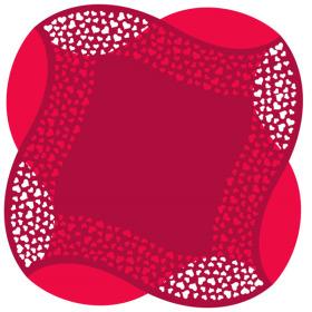 ARTLINE HEARTS SHEET 24X24 IN RED