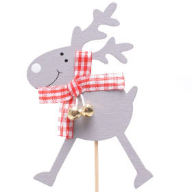 Reindeer Bells 8cm on 10cm stick gray
