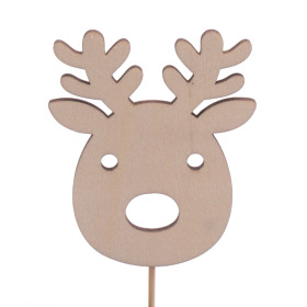 Reindeer 7x5.5cm on 10cm stick natural