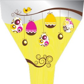 Sleeve Easter Tree 54x44x12cm yellow