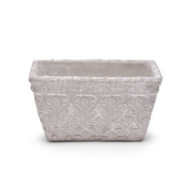 Pot Rectangular Fleur de Lis 9x5.5 H4 in white washed