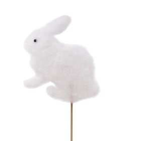 Easter Bunny Flocked 11cm on 50cm stick white