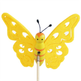 Butterfly Felt 9cm on 50cm stick yellow
