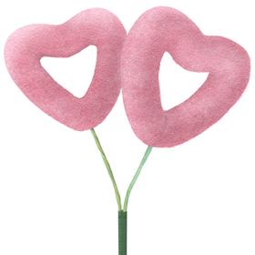 Hart Flocked Love 2x4,5cm op 10cm stok roze