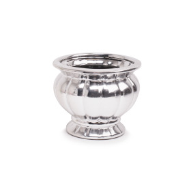 Ceramic Pot Coupe Madras 15x15cm H12cm silver