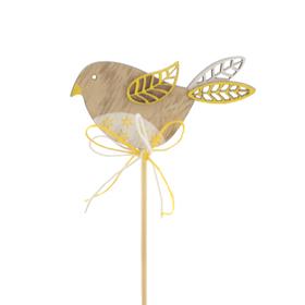Bird Kiki 3in on 20in stick yellow
