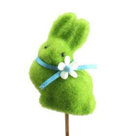 Bunny Bow 7cm on 50cm stick green