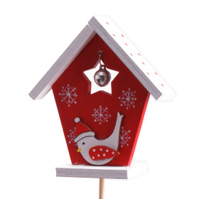 Birdhouse 8cm on 50cm stick red