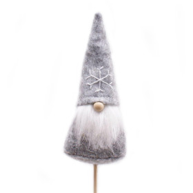 Christmas Santi 10cm on 50cm stick gray