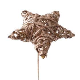 Rattan Star Joa 10cm on 50cm stick gold