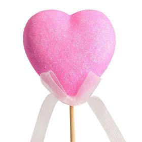 Glitter Heart on 50cm pick pink