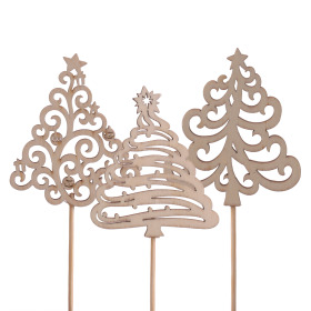 Christmas Tree Ornamental 7cm on 10cm stick naturel