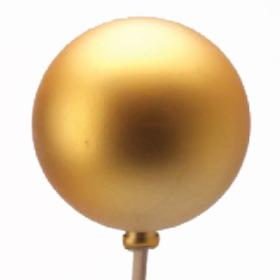 Kerstbal Mat 6cm op 50cm stok goud