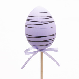 CHOCOLATE EGG 6CM LILAC PICK ON A 20 IN STICK