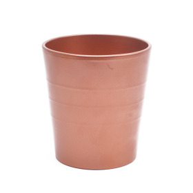 Ceramic Pot Linn 5 in metallic copper