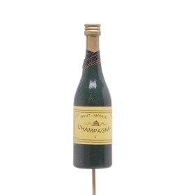 Champagne Bottle 11cm on 50cm stick green
