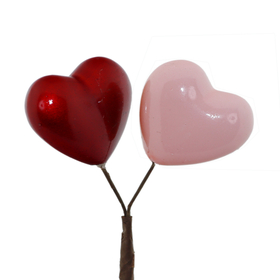 Hearts You & I 4cm on 50cm stick red/pink