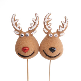 Reindeer Dancer 4x2 in on 20 in stick assorted