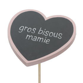Heart Gros Bisous Mamie 8cm on 50cm stick FSC Mix light pink