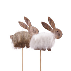 Furry Bunny 8cm on 50cm stick assorted x2