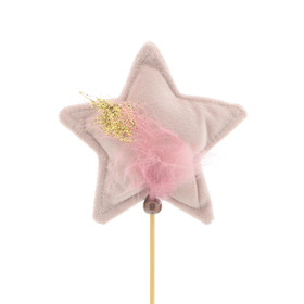 Star Noeleen 11.5cm on 50cm stick pink
