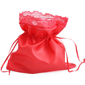 Satin Bag with cord 20x20cm red