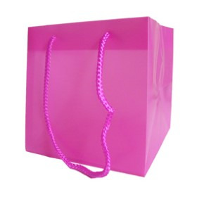 SQUARE CARRYBAG 6.25X6.25X6.25 IN PINK